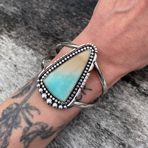Large Beachy Blue Opal Petrified Wood Cuff- Sterling Silver and Indonesian Opalized Wood Statement Cuff