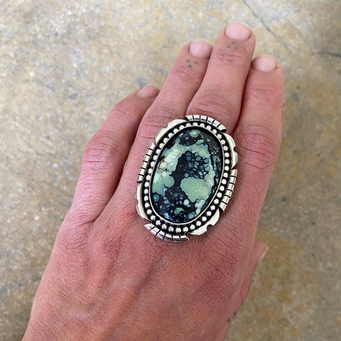 Huge Chunky Variscite Statement Ring or Pendant- Sterling Silver and Poseidon Variscite- Finished to Size