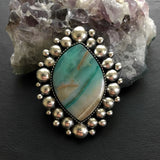 Blue Opal Petrified Wood Super Bubble Ring or Pendant- Sterling Silver and Indonesian Opalized Wood- Finished to Size