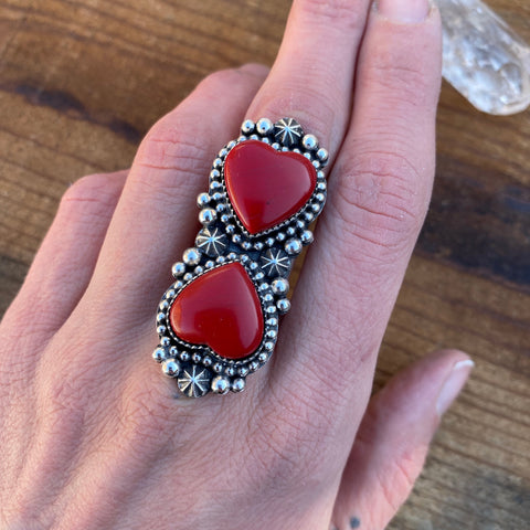 Large Rosarita Celestial Hearts Ring- Sterling Silver and Red Rosarita- Finished to Size or as a Pendant