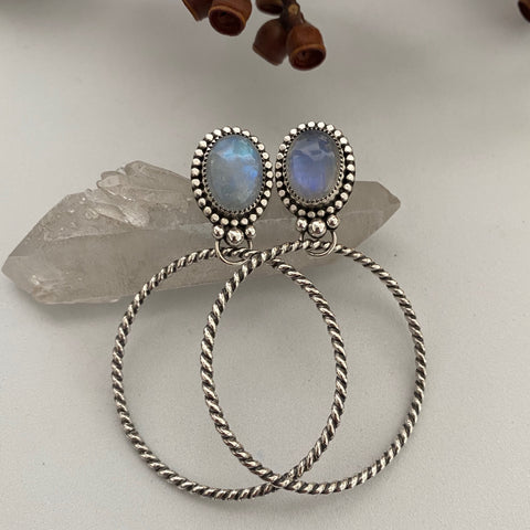 Large Moonstone Hoop Earrings- Sterling Silver and Rainbow Moonstone