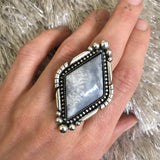 Large Icicle Agate Statement Ring- Sterling Silver and Agate- Finished to Size