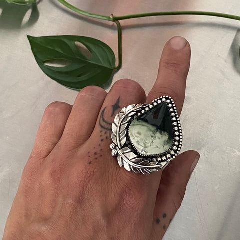 Large Leafy Jasper Ring or Pendant- Sterling Silver and Imperial Jasper- Finished to Size