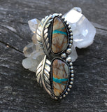 Large Two-Stone Turquoise and Sterling Leaf Ring- Royston Ribbon Turquoise and Sterling Silver- Finished to Size
