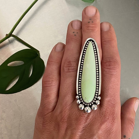 Huge Lemon Chrysoprase Talon Ring or Pendant- Sterling Silver and Lemon Chrysoprase- Finished to Size