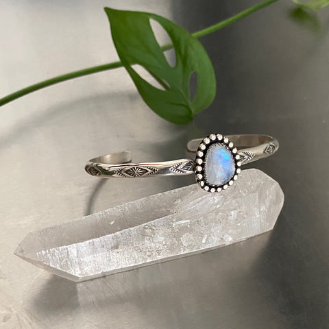 Stamped Stacker Cuff- Sterling Silver and Faceted Rainbow Moonstone- Size M/L
