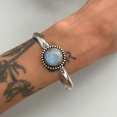 Stamped Wide Stacker Cuff- Sterling Silver and Rainbow Moonstone Bracelet- Size M/L