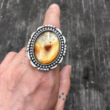 Large Montana Agate and Sterling Ring- Sterling Silver and Agate Statement Ring- Finished to Size