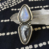 Huge Two-Stone Moonstone and Dendritic Opal Ring- Snow Queen Ring- Finished to Size