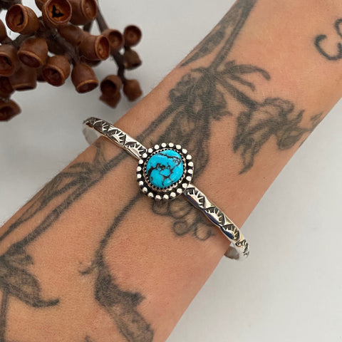 Stamped Turquoise Stacker Cuff- Sterling Silver and Kingman Turquoise Bracelet- Size L/XL