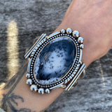Huge Dendritic Opal Statement Cuff- Sterling Silver and Dendritic Opal