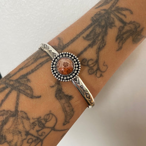 Stamped Coral Cuff Bracelet- Sterling Silver and Fossil Coral Wide Stacker Cuff