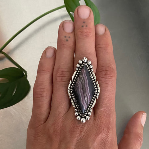 Large Kite Shaped Purple Passion Agate Statement Ring or Pendant- Sterling Silver and Purple Passion Agate- Finished to Size