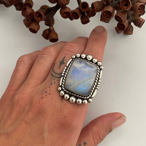Large Square Moonstone Statement Ring or Pendant- Sterling Silver and Rainbow Moonstone- Finished to Size