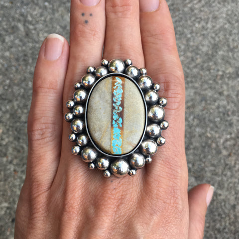 Royston Ribbon Super Bubble Ring- Sterling Silver and Royston Turquoise Statement Ring- Finished to Size or as Pendant