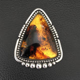 Huge Triangle Amber Ring- Sterling Silver and Mayan Amber - Finished to Size