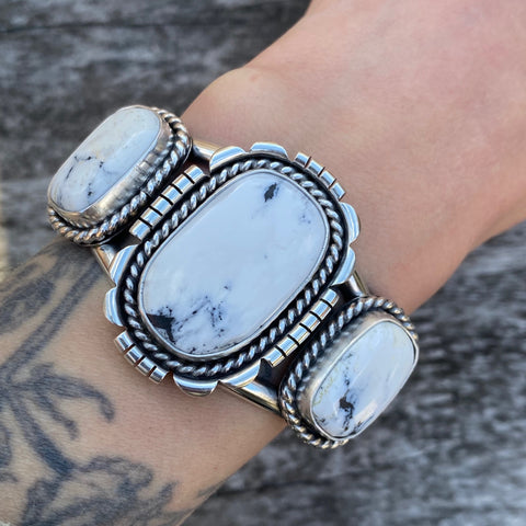 3-Stone White Buffalo and Sterling Silver Cuff Bracelet- Size S/M