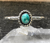 Stamped Turquoise Cuff Bracelet- Sterling Silver and Royston Turquoise Stacker Cuff- Size S/M