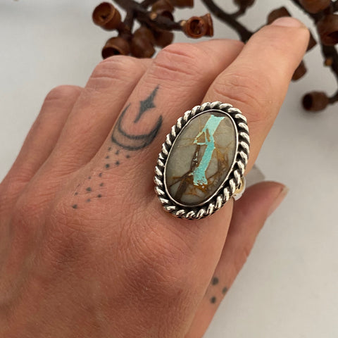 Chunky Turquoise Ring- Size 7.5- Hand Stamped Sterling Silver and Royston Ribbon Turquoise