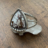 Wild Horse Stamped Silver Cuff- Sterling Silver and Wild Horse Magnesite Statement Cuff