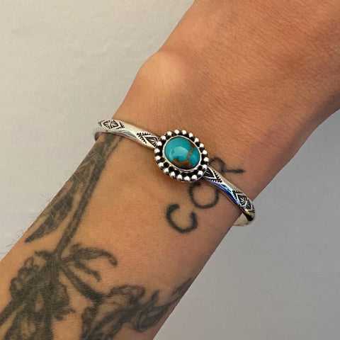 Stamped Turquoise Stacker Cuff- Sterling Silver and Royston Turquoise Bracelet- Size XS/S