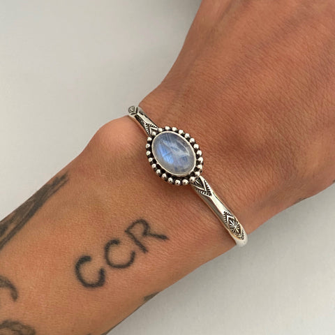 Stamped Stacker Cuff- Sterling Silver and Rainbow Moonstone Bracelet- Size XS