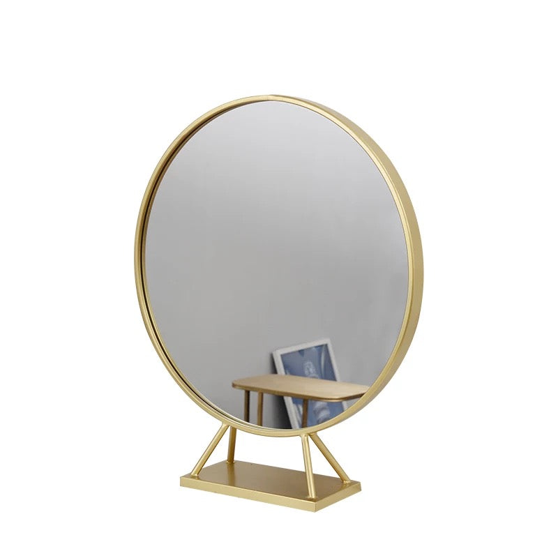 Gold Round Dressing Table Mirror