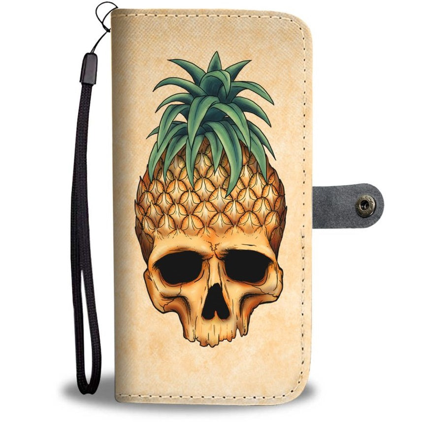 Pineapple Skull Wallet Phone Case Light
