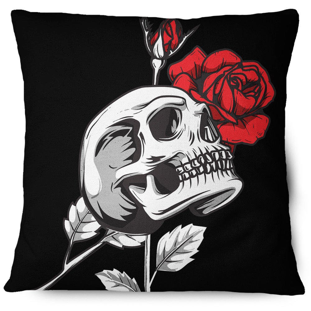 Death Rose Skull Throw Pillow Cover black