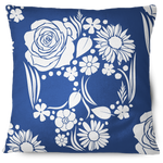 Floweristic Skull Throw Pillow Cover blue
