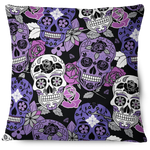 Sugar Skull Throw Pillow Cover Purple