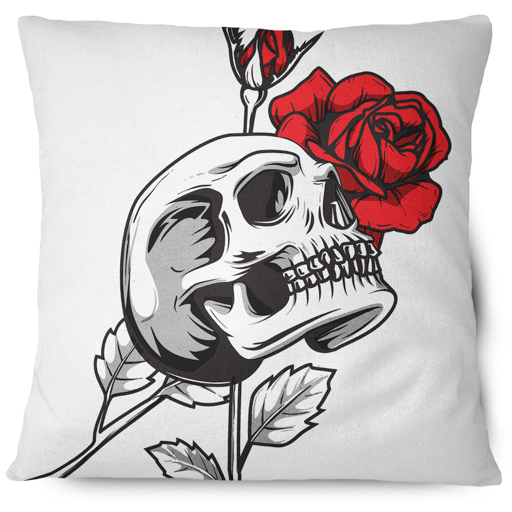 Death Rose Skull Throw Pillow Cover white