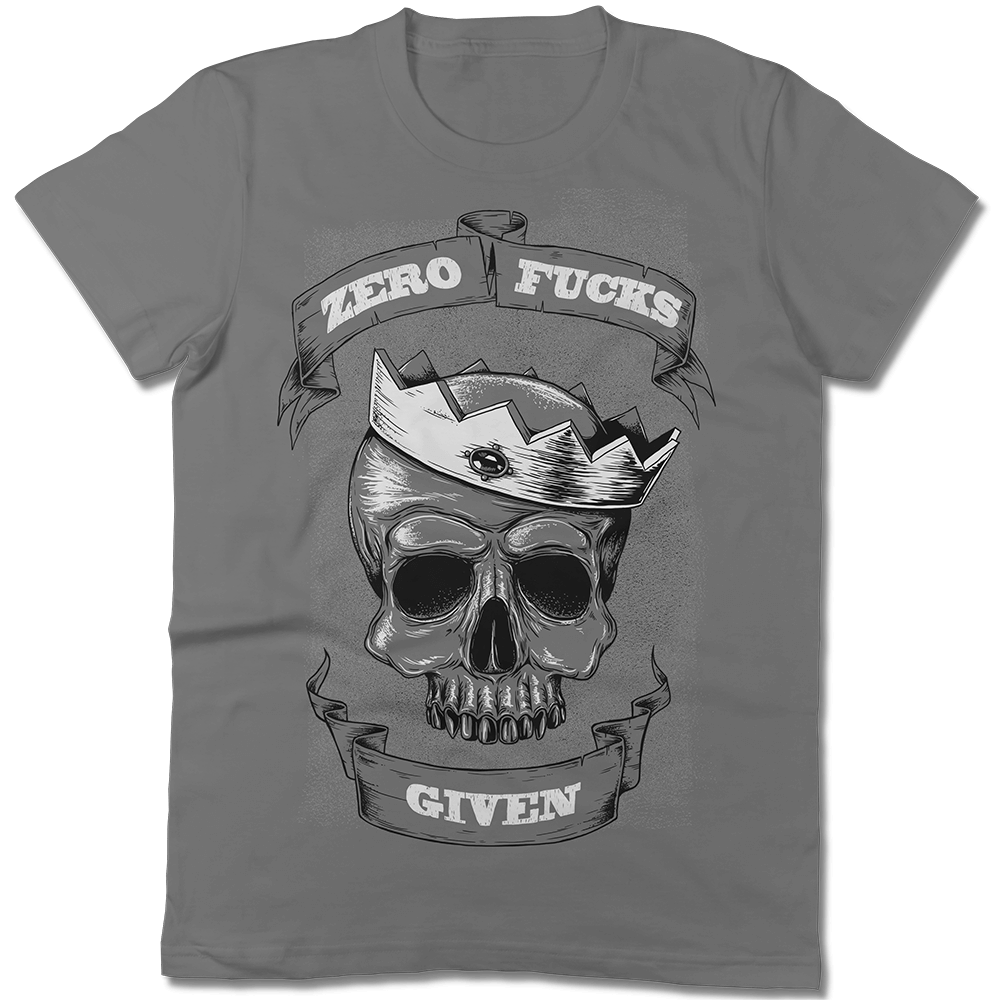Zero Fucks Given Charcoal Skull T-shirt