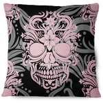 Enigma Skull Throw Pillow Cover pink