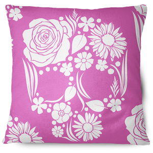 Floweristic Skull Throw Pillow Cover pink