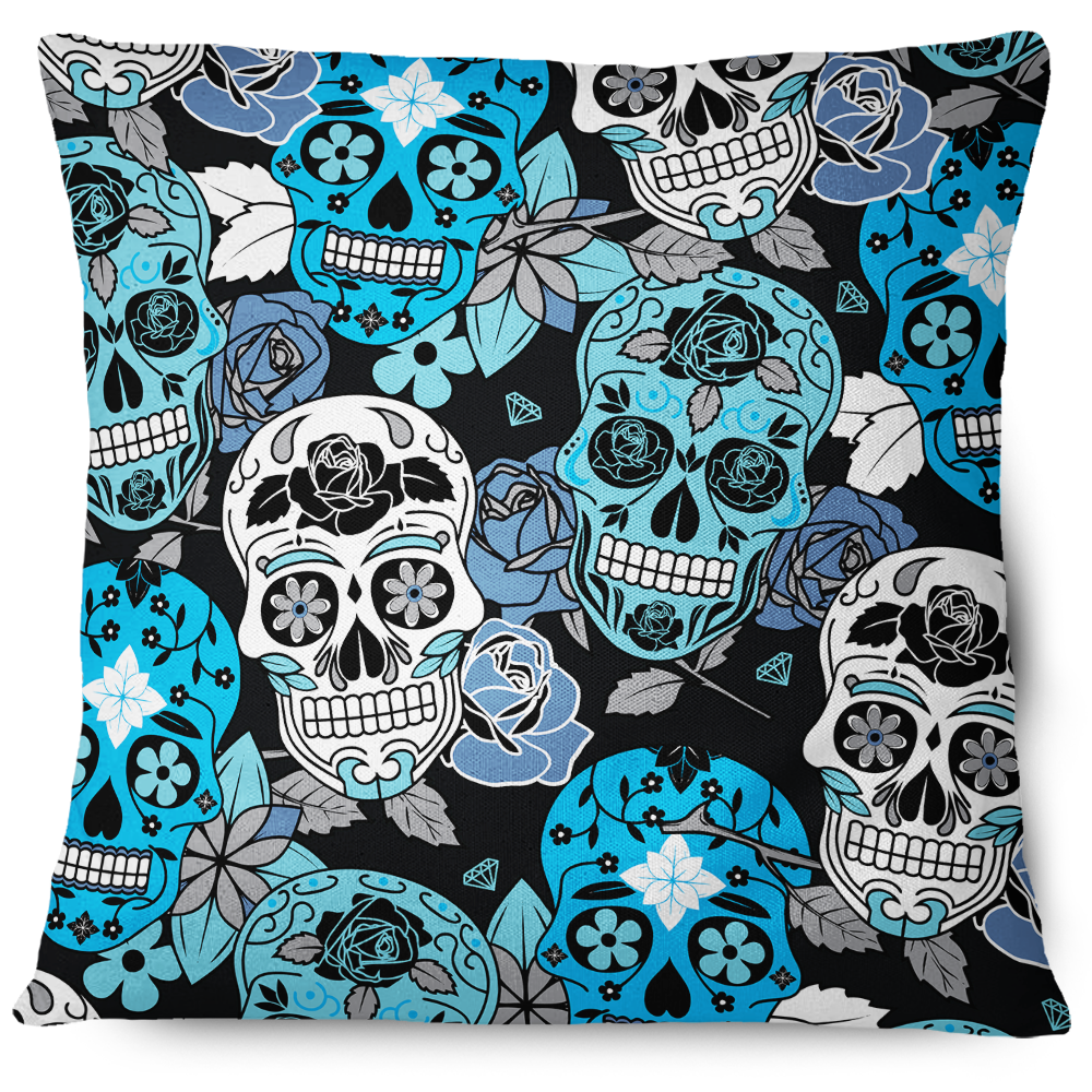 Sugar Skull Throw Pillow Cover blue
