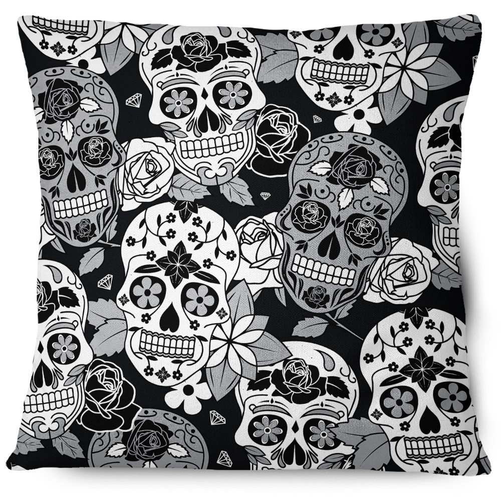 Sugar Skull Throw Pillow Cover grey