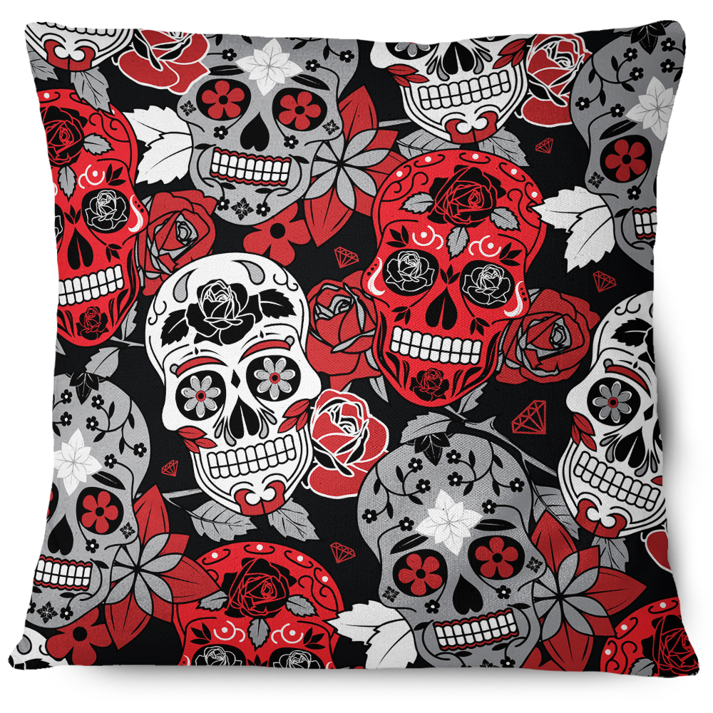 Sugar Skull Throw Pillow Cover red