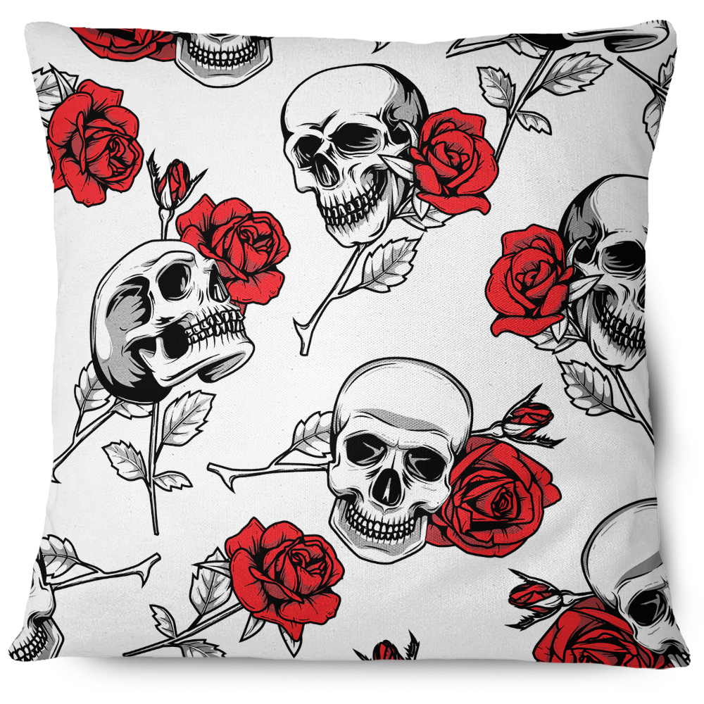 Skulls and Roses Throw Pillow Cover White