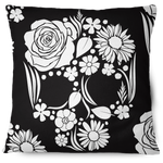 Floweristic Skull Throw Pillow Cover black