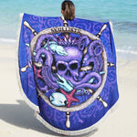 Octopus Skull Round Beach Towel