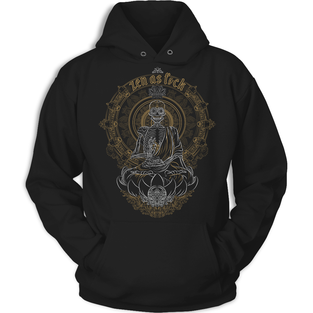 Zen Meditating Skeleton Black Hoodie