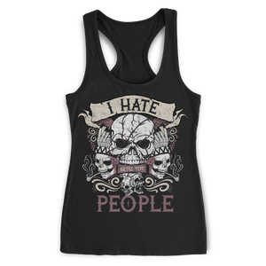 I Hate People Skull Racerback Tank
