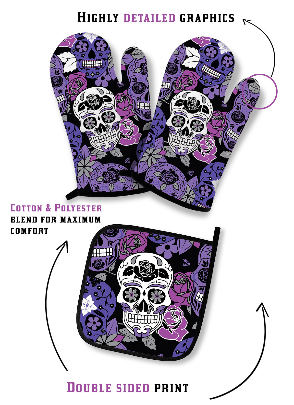 Sugar Skull Oven Mitts Set