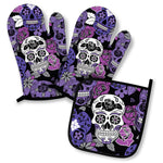 Sugar Skull Oven Mitts And Pot Holder Set