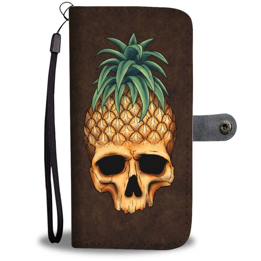 Pineapple Skull Wallet Phone Case Dark