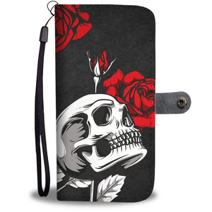 Black Death Rose Skull Wallet Phone Case