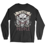 I Hate People Skull Long Sleeve Tee