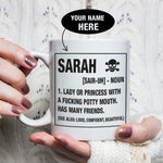 Personalised Lady With A Potty Mouth Skull Mugs Set