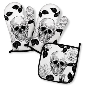 Gothic Skull Oven Mitts And Pot Holder Set